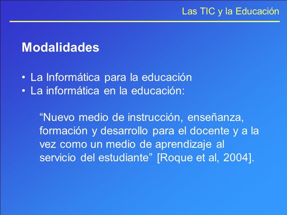 Las TIC y la Educación Modalidades La Informática para la educación La informática en la educación: Nuevo medio de instrucción, enseñanza, formación y
