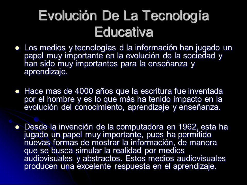Evolución De La Tecnología Educativa Los medios y tecnologías d la información han jugado un papel muy importante en la evolución de la sociedad y han