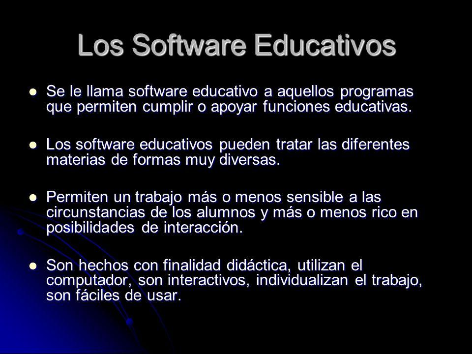 Los Software Educativos Se le llama software educativo a aquellos programas que permiten cumplir o apoyar funciones educativas. Se le llama software e