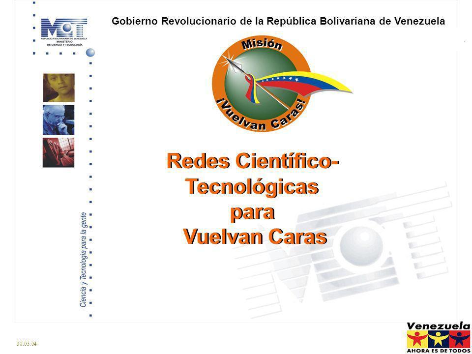 30.03.04 Redes Científico- Tecnológicas para Vuelvan Caras Redes Científico- Tecnológicas para Vuelvan Caras Gobierno Revolucionario de la República Bolivariana de Venezuela