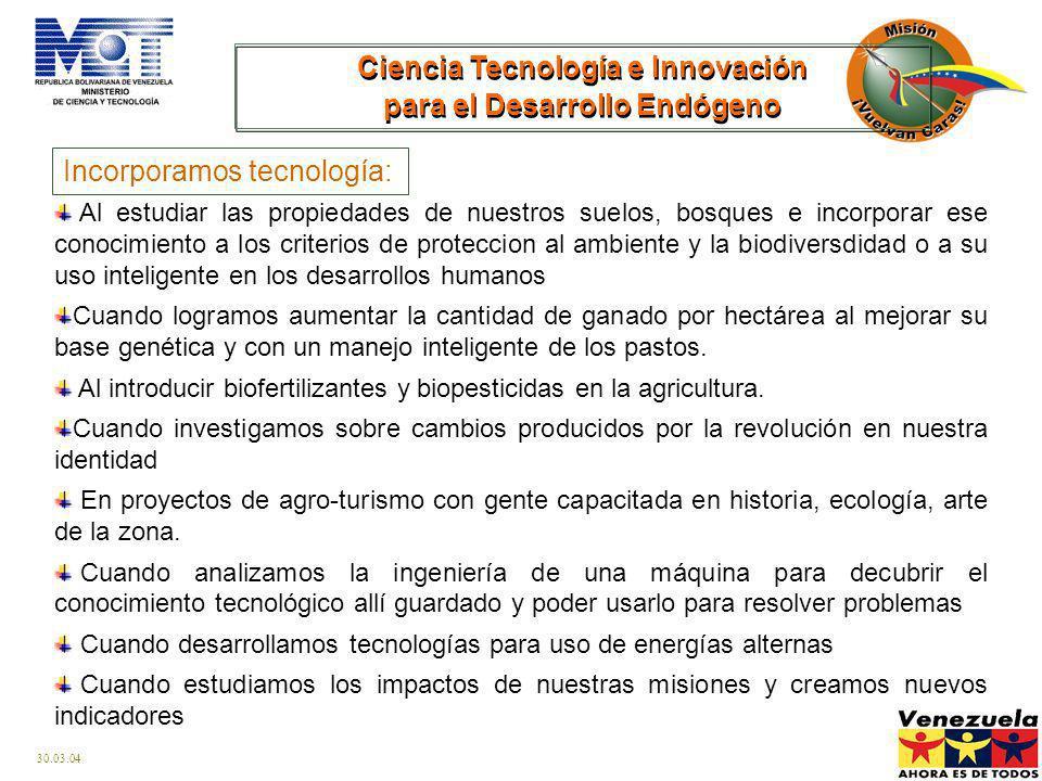 30.03.04 Orientar el desarrollo científico y la innovación tecnológica para incrementar y fortalecer la capacidad productiva, el talento humano, la go