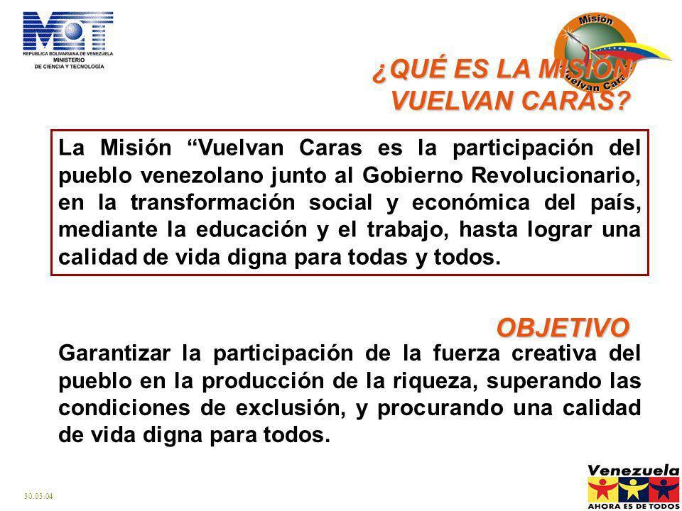 30.03.04 La Misión Vuelvan Caras es la participación del pueblo venezolano junto al Gobierno Revolucionario, en la transformación social y económica del país, mediante la educación y el trabajo, hasta lograr una calidad de vida digna para todas y todos.