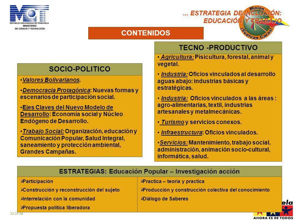 30.03.04 CONTENIDOS...ESTRATEGIA DE INCLUSIÓN: EDUCACIÓN Y TRABAJO Valores Bolivarianos.