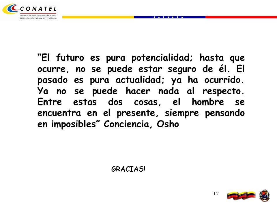 17 GRACIAS! El futuro es pura potencialidad; hasta que ocurre, no se puede estar seguro de él. El pasado es pura actualidad; ya ha ocurrido. Ya no se