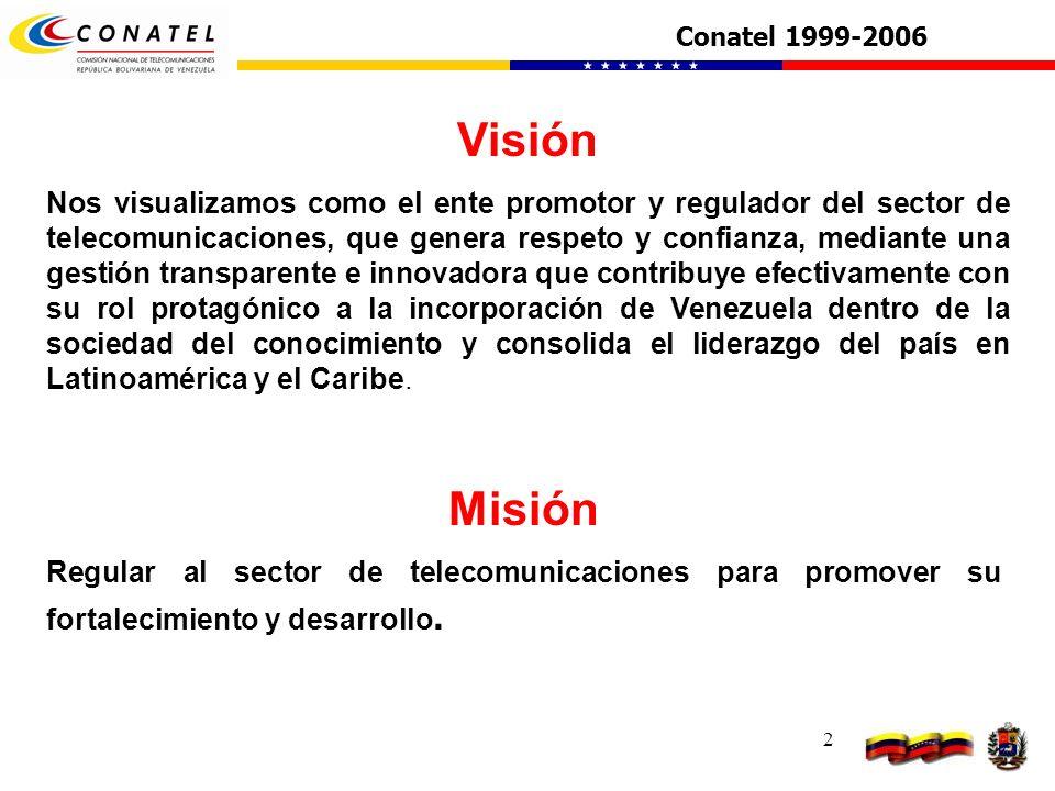 2 Visión Nos visualizamos como el ente promotor y regulador del sector de telecomunicaciones, que genera respeto y confianza, mediante una gestión tra