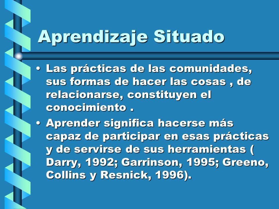 Las prácticas de las comunidades, sus formas de hacer las cosas, de relacionarse, constituyen el conocimiento.Las prácticas de las comunidades, sus fo
