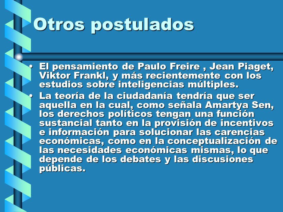 Otros postulados El pensamiento de Paulo Freire, Jean Piaget, Viktor Frankl, y más recientemente con los estudios sobre inteligencias múltiples.El pen