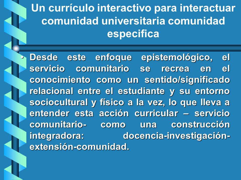 Desde este enfoque epistemológico, el servicio comunitario se recrea en el conocimiento como un sentido/significado relacional entre el estudiante y s