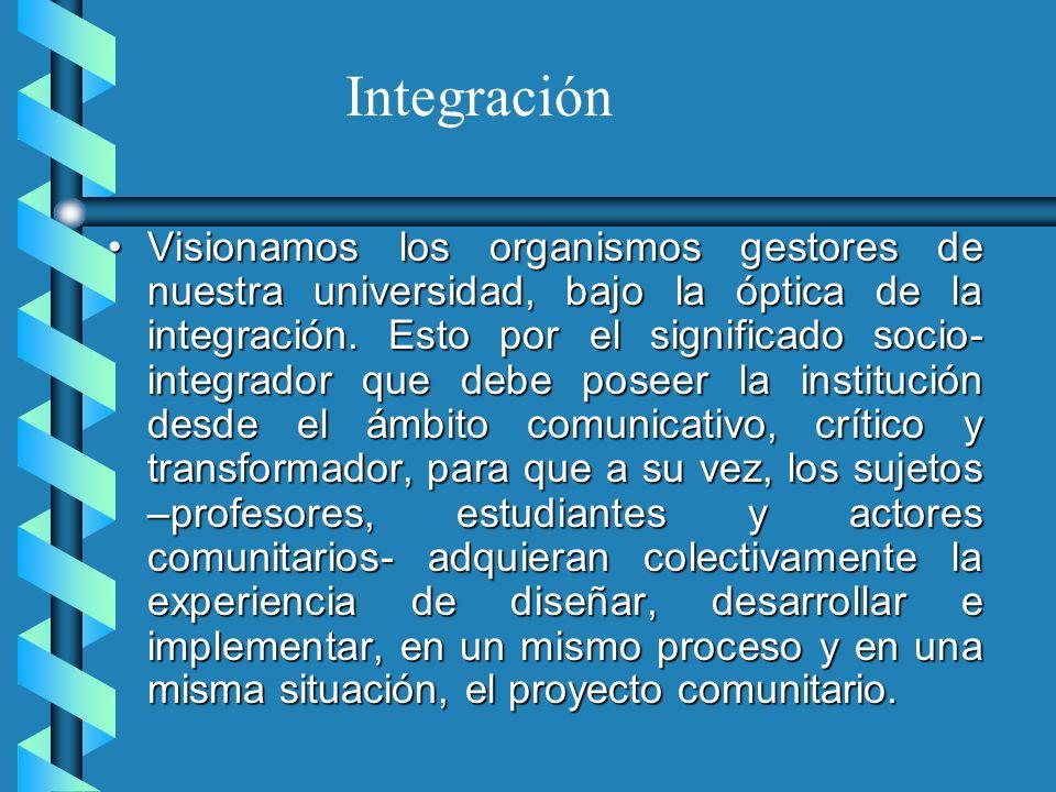 Visionamos los organismos gestores de nuestra universidad, bajo la óptica de la integración. Esto por el significado socio- integrador que debe poseer