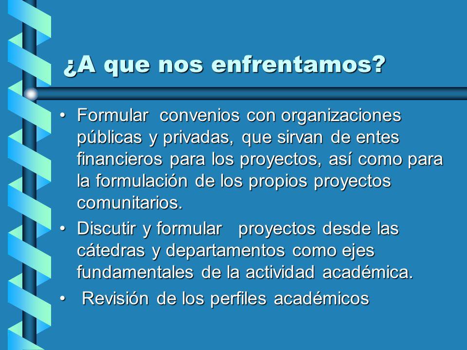 Formular convenios con organizaciones públicas y privadas, que sirvan de entes financieros para los proyectos, así como para la formulación de los pro