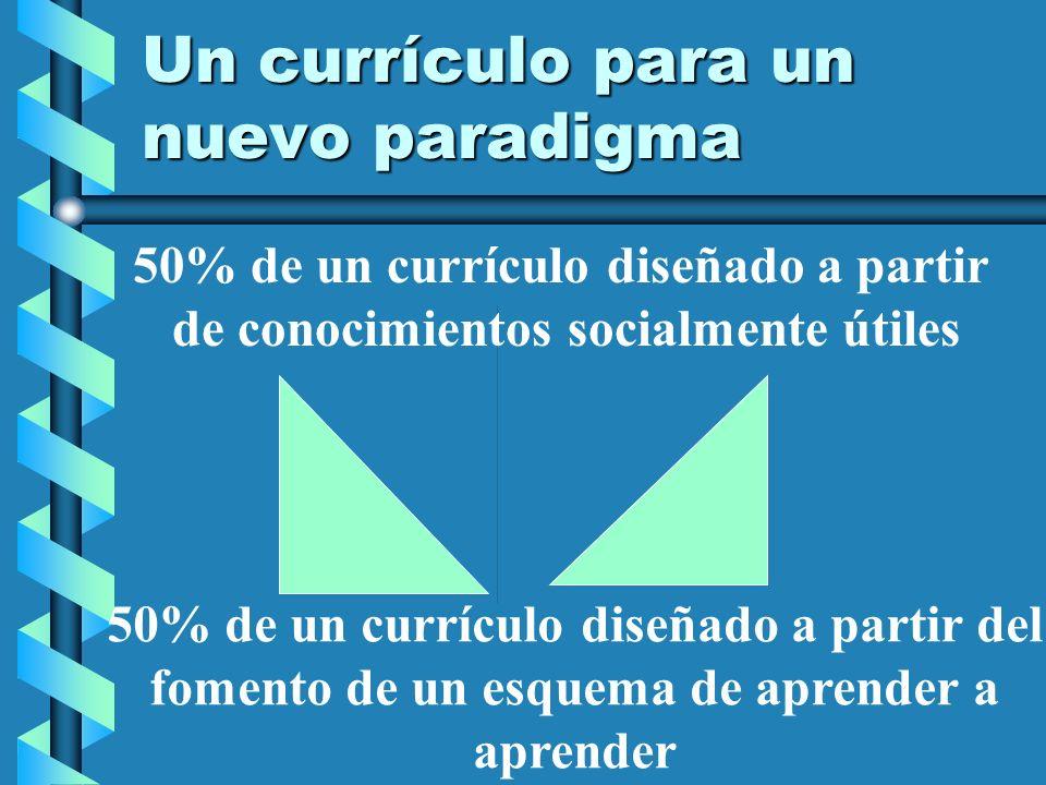 Un currículo para un nuevo paradigma 50% de un currículo diseñado a partir de conocimientos socialmente útiles 50% de un currículo diseñado a partir d