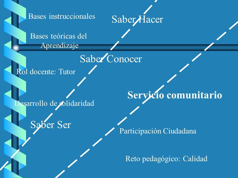 Saber Hacer Saber Conocer Saber Ser Servicio comunitario Bases instruccionales Bases teóricas del Aprendizaje Rol docente: Tutor Desarrollo de solidar