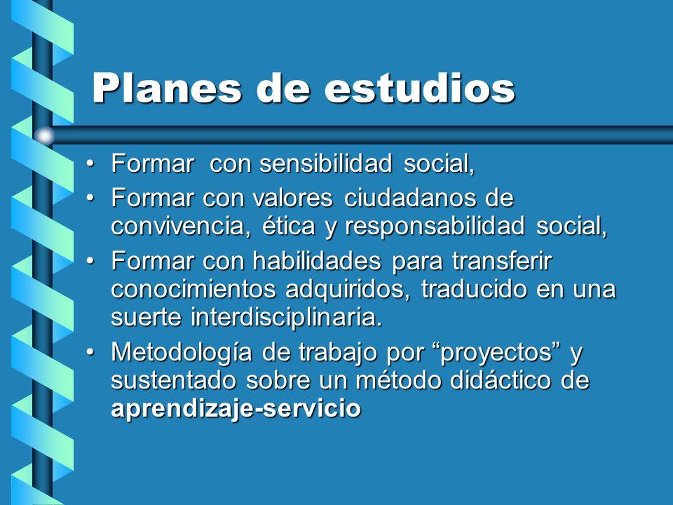 Planes de estudios Formar con sensibilidad social,Formar con sensibilidad social, Formar con valores ciudadanos de convivencia, ética y responsabilida