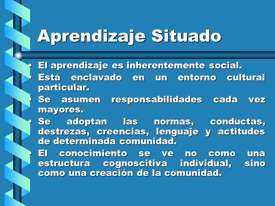 Aprendizaje Situado El aprendizaje es inherentemente social.El aprendizaje es inherentemente social. Está enclavado en un entorno cultural particular.
