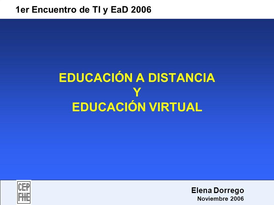 1er Encuentro de TI y EaD 2006 Elena Dorrego Noviembre 2006 Tipos de Educación Virtual Entre otros: formación virtual teleformación formación en línea enseñanza en línea e-learning