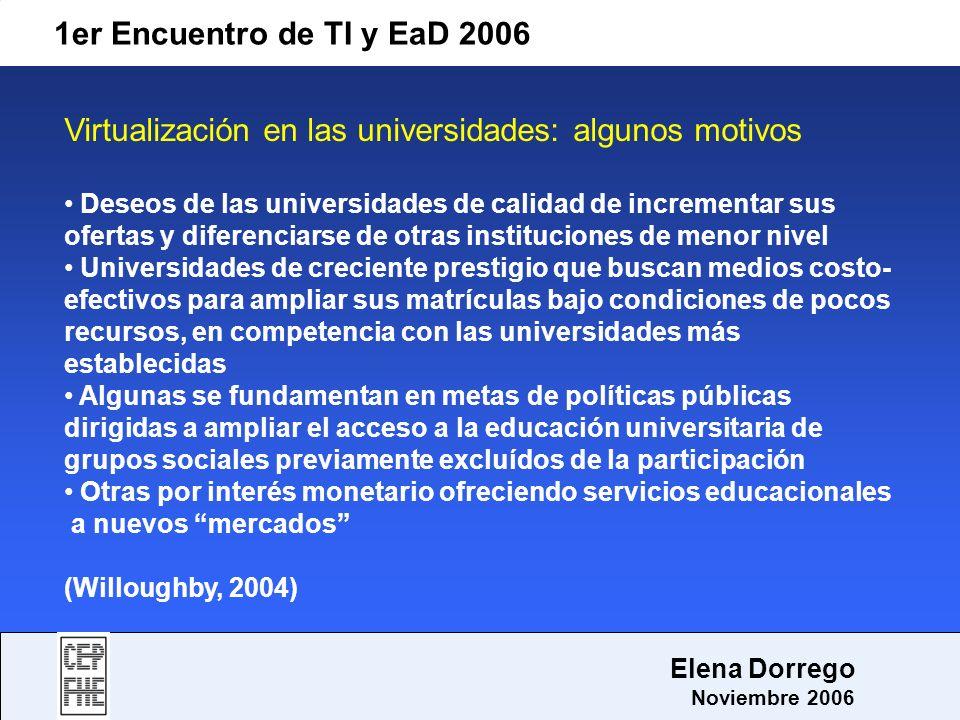 1er Encuentro de TI y EaD 2006 Elena Dorrego Noviembre 2006 Virtualización en las universidades: algunos motivos Deseos de las universidades de calida