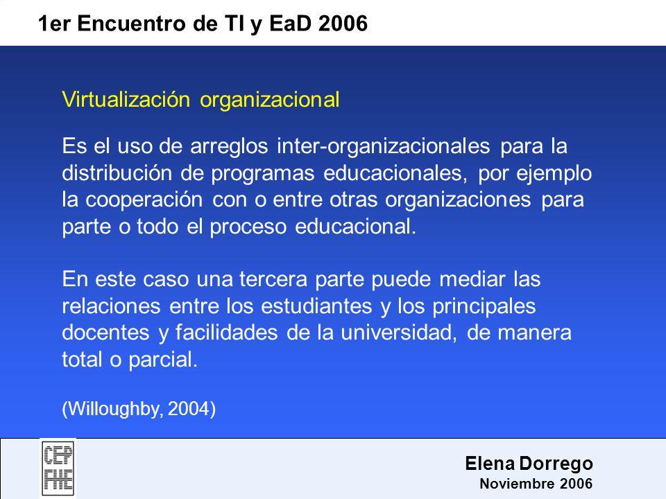 1er Encuentro de TI y EaD 2006 Elena Dorrego Noviembre 2006 Virtualización organizacional Es el uso de arreglos inter-organizacionales para la distrib