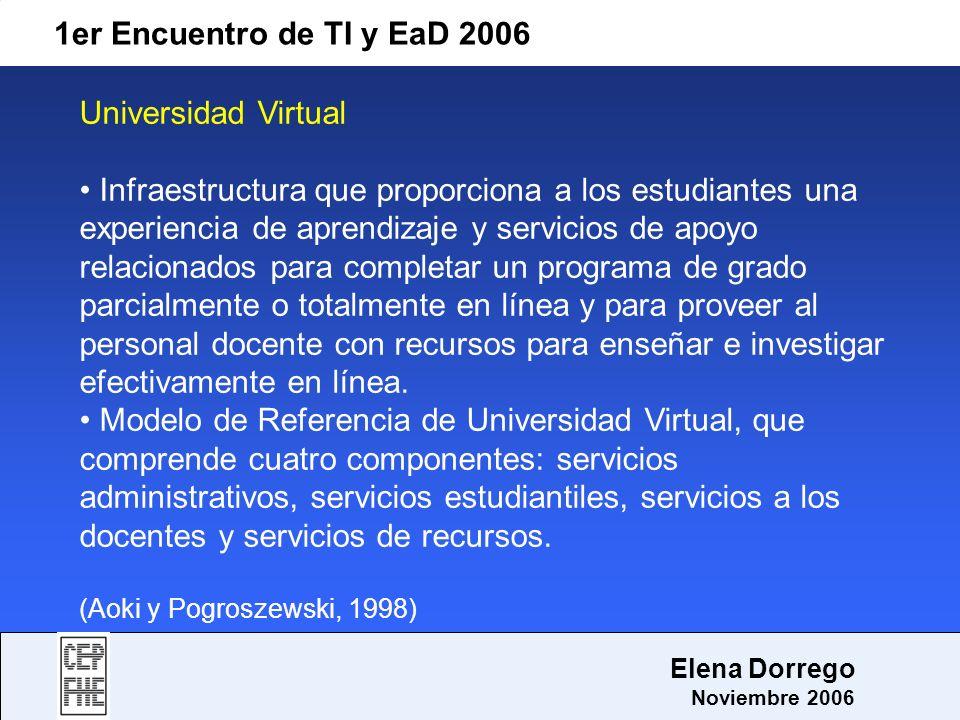 1er Encuentro de TI y EaD 2006 Elena Dorrego Noviembre 2006 Universidad Virtual Infraestructura que proporciona a los estudiantes una experiencia de a