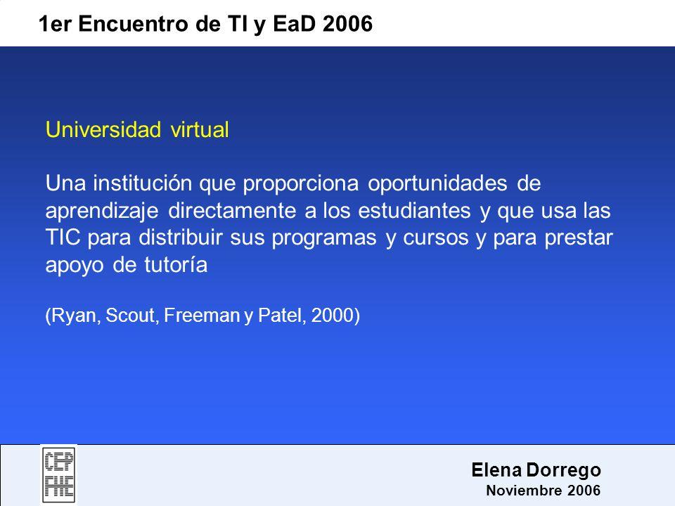 1er Encuentro de TI y EaD 2006 Elena Dorrego Noviembre 2006 Universidad virtual Una institución que proporciona oportunidades de aprendizaje directame