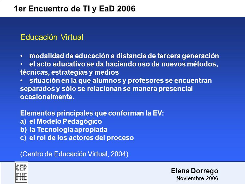 1er Encuentro de TI y EaD 2006 Elena Dorrego Noviembre 2006 Educación Virtual modalidad de educación a distancia de tercera generación el acto educati