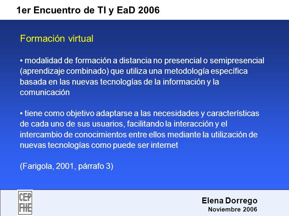 1er Encuentro de TI y EaD 2006 Elena Dorrego Noviembre 2006 Formación virtual modalidad de formación a distancia no presencial o semipresencial (apren