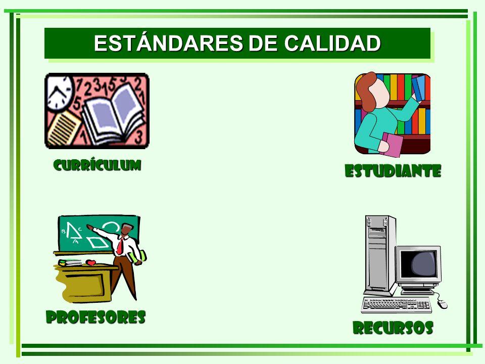 ESTÁNDARES DE CALIDAD ESTUDIANTE profesorES recursos CURRÍCULUM