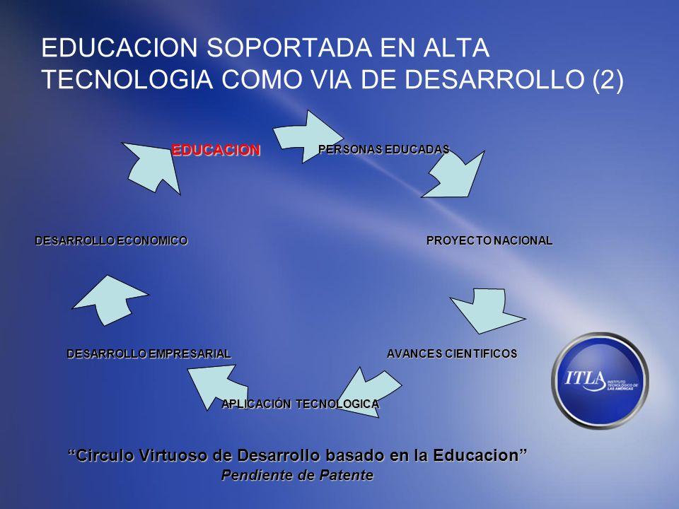 EDUCACION SOPORTADA EN ALTA TECNOLOGIA COMO VIA DE DESARROLLO (2) PERSONAS EDUCADAS PROYECTO NACIONAL AVANCES CIENTIFICOS APLICACIÓN TECNOLOGICA DESAR
