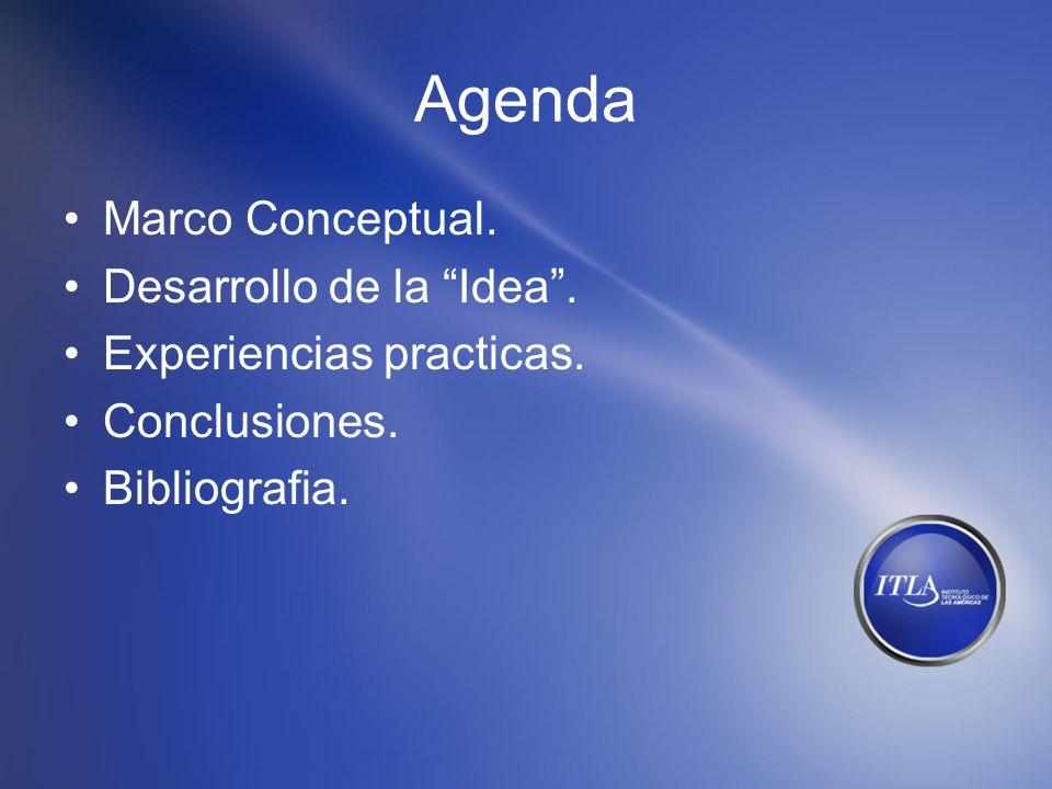Agenda Marco Conceptual. Desarrollo de la Idea. Experiencias practicas. Conclusiones. Bibliografia.