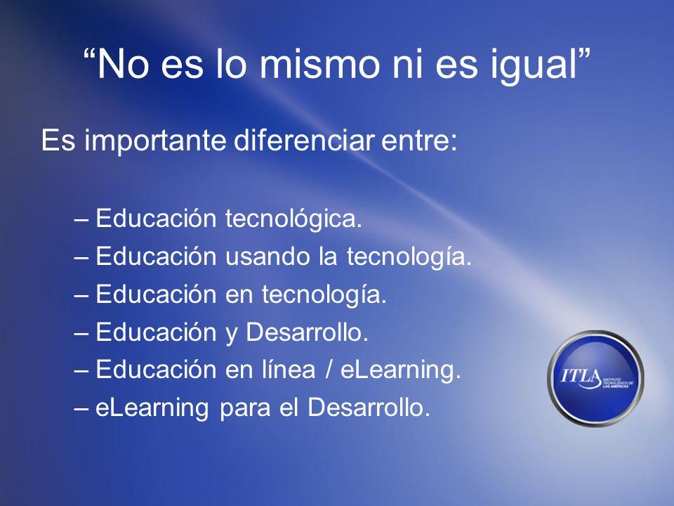 No es lo mismo ni es igual Es importante diferenciar entre: –Educación tecnológica. –Educación usando la tecnología. –Educación en tecnología. –Educac