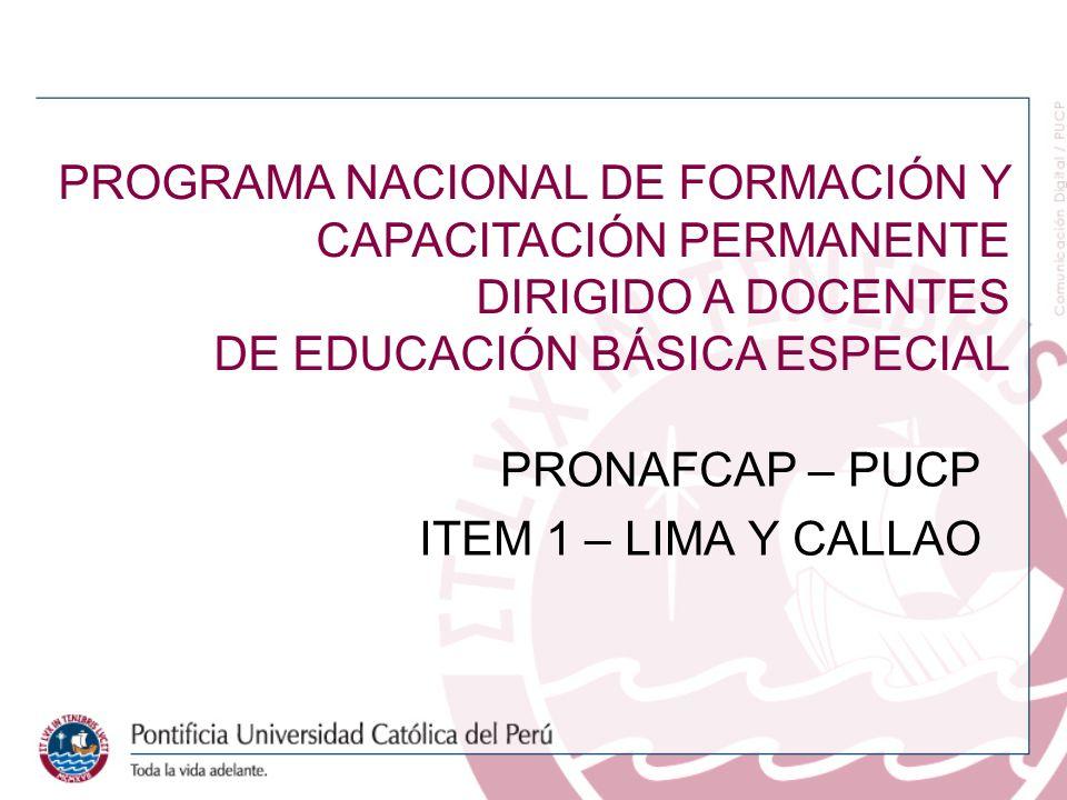 PRONAFCAP – PUCP ITEM 1 – LIMA Y CALLAO PROGRAMA NACIONAL DE FORMACIÓN Y CAPACITACIÓN PERMANENTE DIRIGIDO A DOCENTES DE EDUCACIÓN BÁSICA ESPECIAL