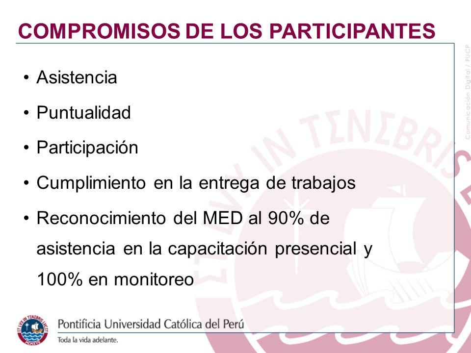 Asistencia Puntualidad Participación Cumplimiento en la entrega de trabajos Reconocimiento del MED al 90% de asistencia en la capacitación presencial