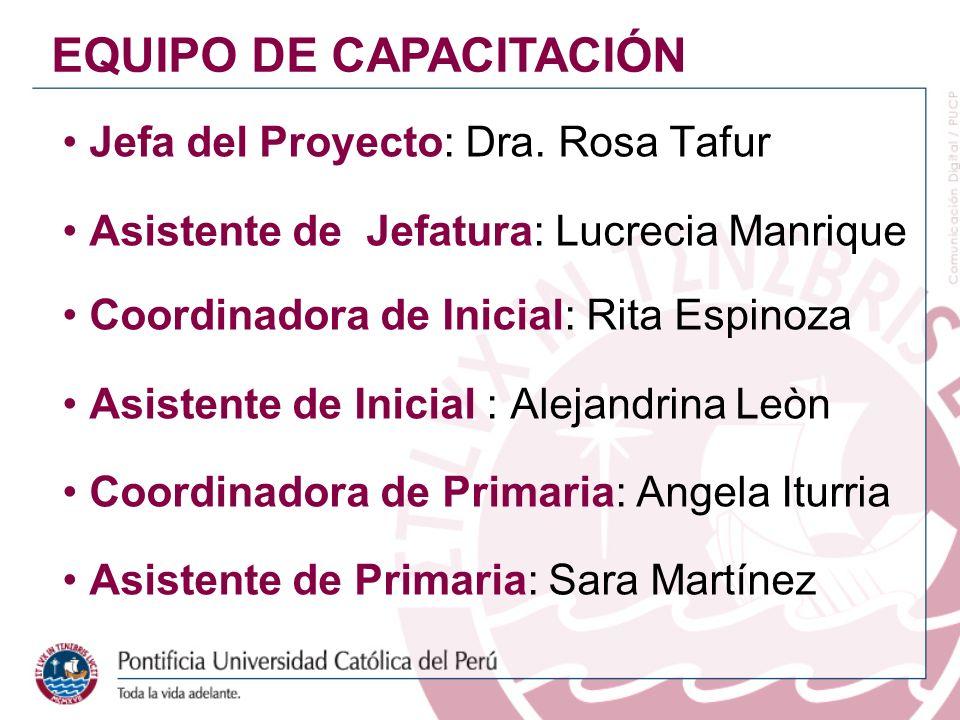 Jefa del Proyecto: Dra. Rosa Tafur Asistente de Jefatura: Lucrecia Manrique Coordinadora de Inicial: Rita Espinoza Asistente de Inicial : Alejandrina