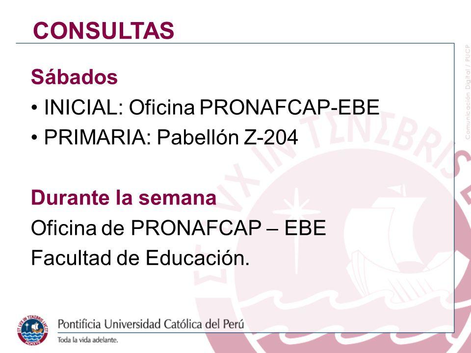 Sábados INICIAL: Oficina PRONAFCAP-EBE PRIMARIA: Pabellón Z-204 Durante la semana Oficina de PRONAFCAP – EBE Facultad de Educación. CONSULTAS