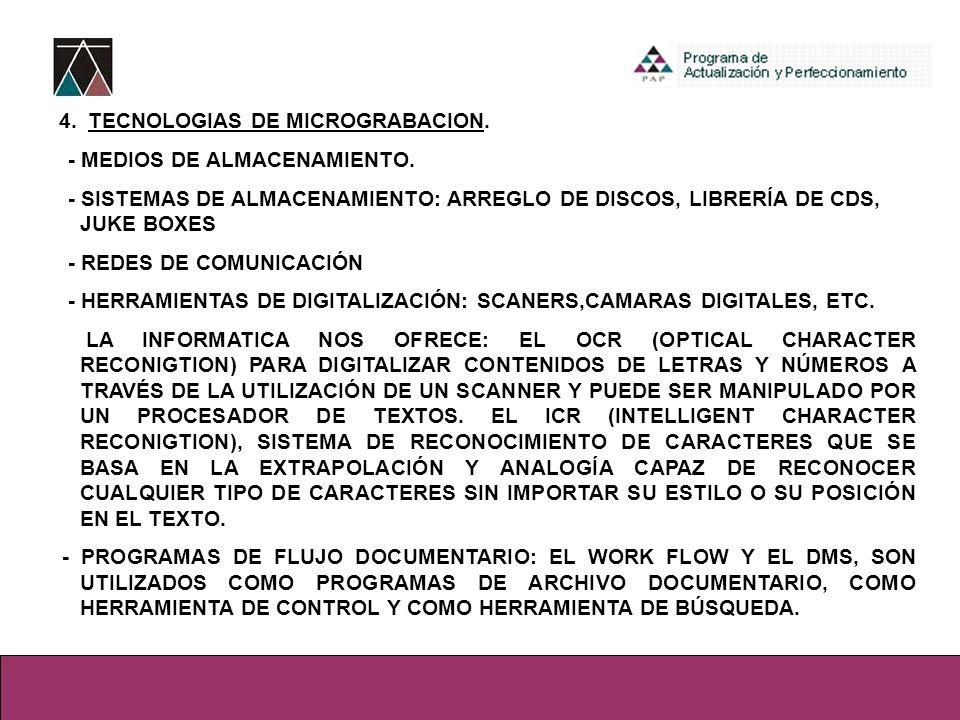 4. TECNOLOGIAS DE MICROGRABACION. - MEDIOS DE ALMACENAMIENTO. - SISTEMAS DE ALMACENAMIENTO: ARREGLO DE DISCOS, LIBRERÍA DE CDS, JUKE BOXES - REDES DE