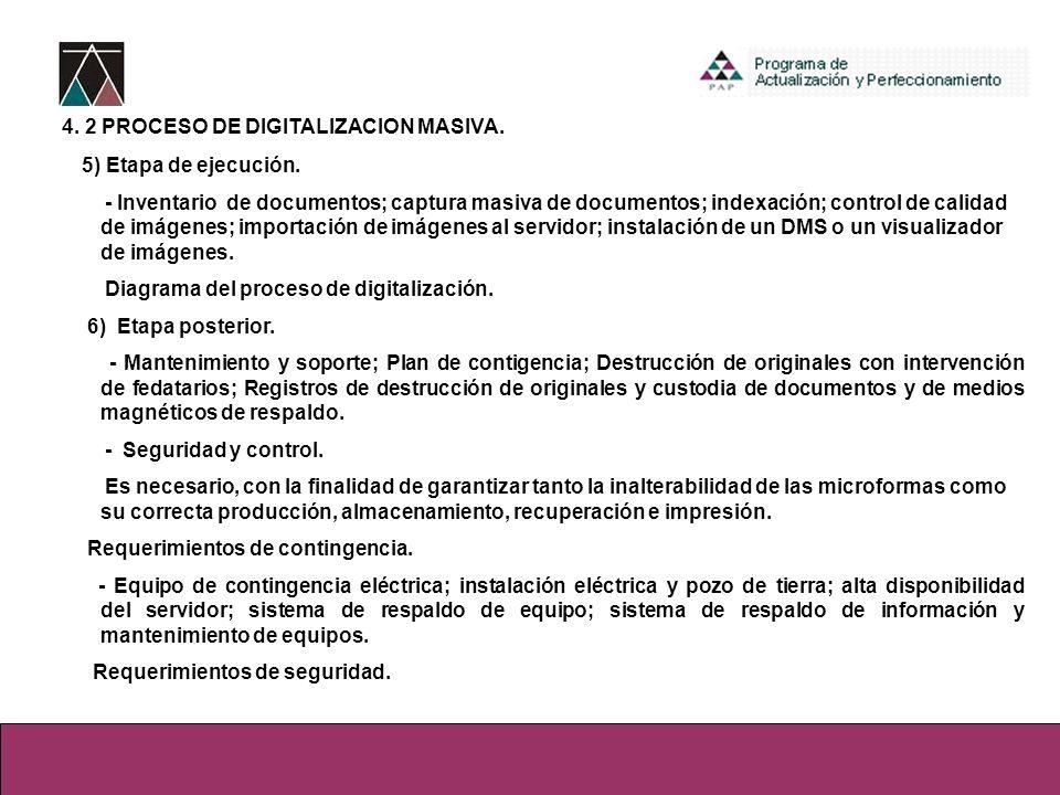 4. 2 PROCESO DE DIGITALIZACION MASIVA. 5) Etapa de ejecución. - Inventario de documentos; captura masiva de documentos; indexación; control de calidad