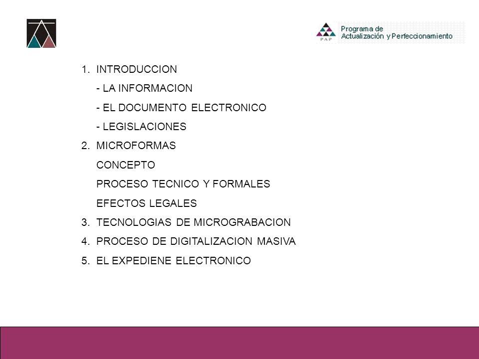 1. INTRODUCCION - LA INFORMACION - EL DOCUMENTO ELECTRONICO - LEGISLACIONES 2.MICROFORMAS CONCEPTO PROCESO TECNICO Y FORMALES EFECTOS LEGALES 3.TECNOL