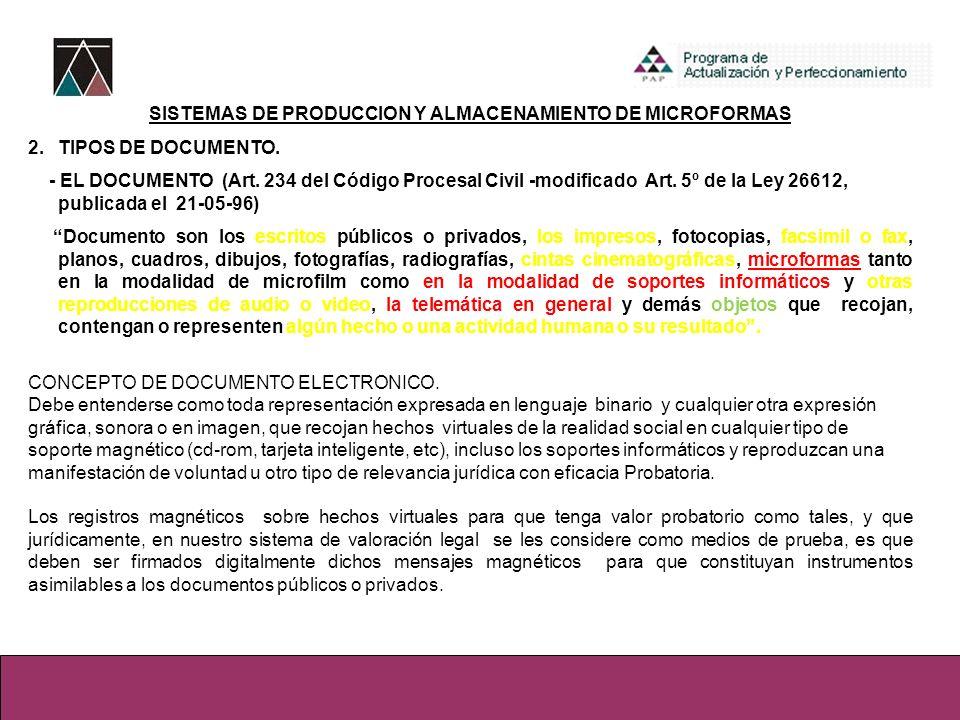 SISTEMAS DE PRODUCCION Y ALMACENAMIENTO DE MICROFORMAS 2.TIPOS DE DOCUMENTO. - EL DOCUMENTO (Art. 234 del Código Procesal Civil -modificado Art. 5º de