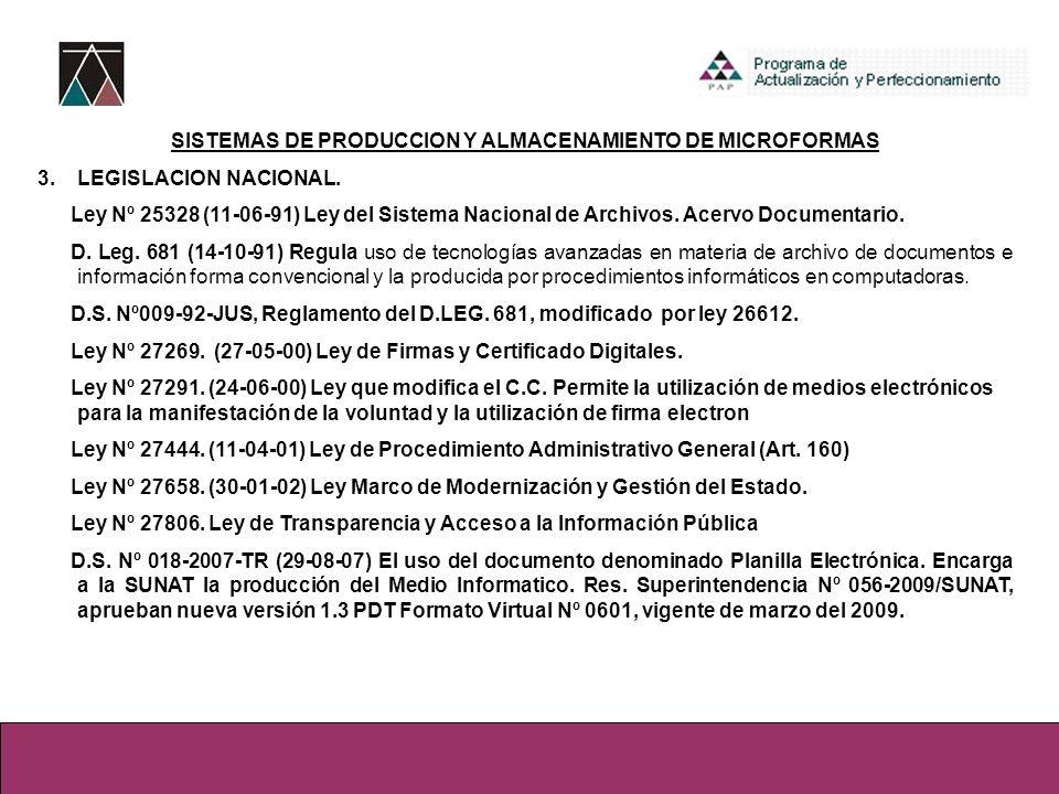 SISTEMAS DE PRODUCCION Y ALMACENAMIENTO DE MICROFORMAS 3.LEGISLACION NACIONAL. Ley Nº 25328 (11-06-91) Ley del Sistema Nacional de Archivos. Acervo Do