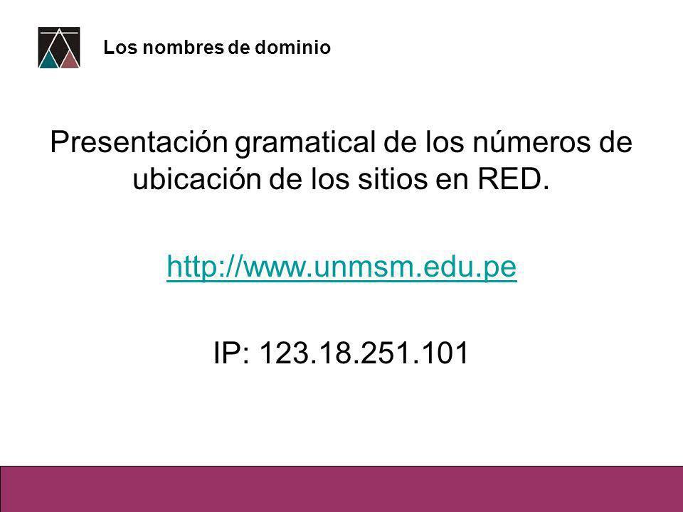Presentación gramatical de los números de ubicación de los sitios en RED.