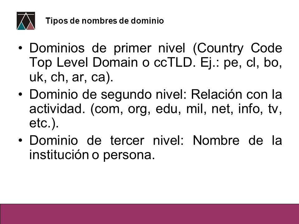 Dominios de primer nivel (Country Code Top Level Domain o ccTLD. Ej.: pe, cl, bo, uk, ch, ar, ca). Dominio de segundo nivel: Relación con la actividad