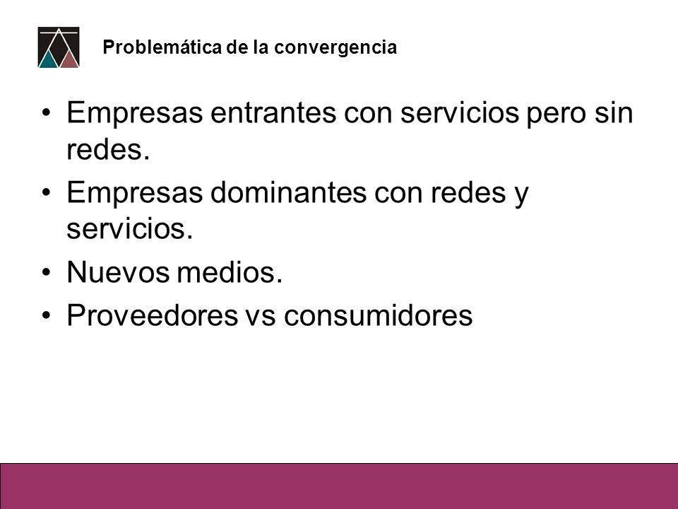 Empresas entrantes con servicios pero sin redes. Empresas dominantes con redes y servicios.