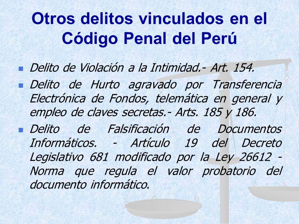 DELITOS INFORMÁTICOS EN EL CODIGO PENAL DEL PERÚ Artículo 207-B.- Alteración, daño y destrucción de base de datos, sistema, red o programa de computad