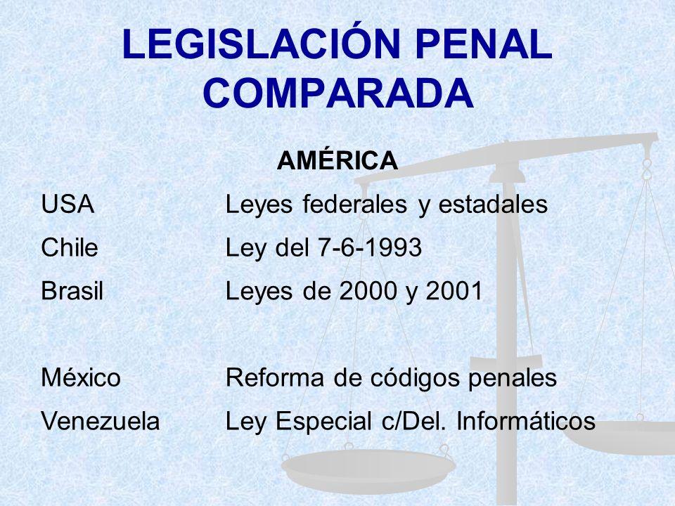 LEGISLACIÓN PENAL COMPARADA EUROPA Alemania2º ley c/Crim. Económica (1986) AustriaReforma Código Penal (1987) PortugalLey Protec. Datos Pers. (1991) R