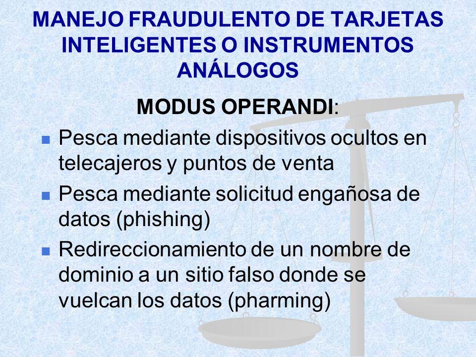 MANEJO FRAUDULENTO DE TARJETAS INTELIGENTES O INSTRUMENTOS ANÁLOGOS ACCIÓN: Crear-capturar-grabar- copiar-alterar-duplicar- eliminar data/informac. RE