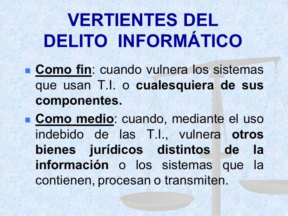 VERTIENTES DEL DELITO INFORMÁTICO Como fin: cuando vulnera los sistemas que usan T.I.