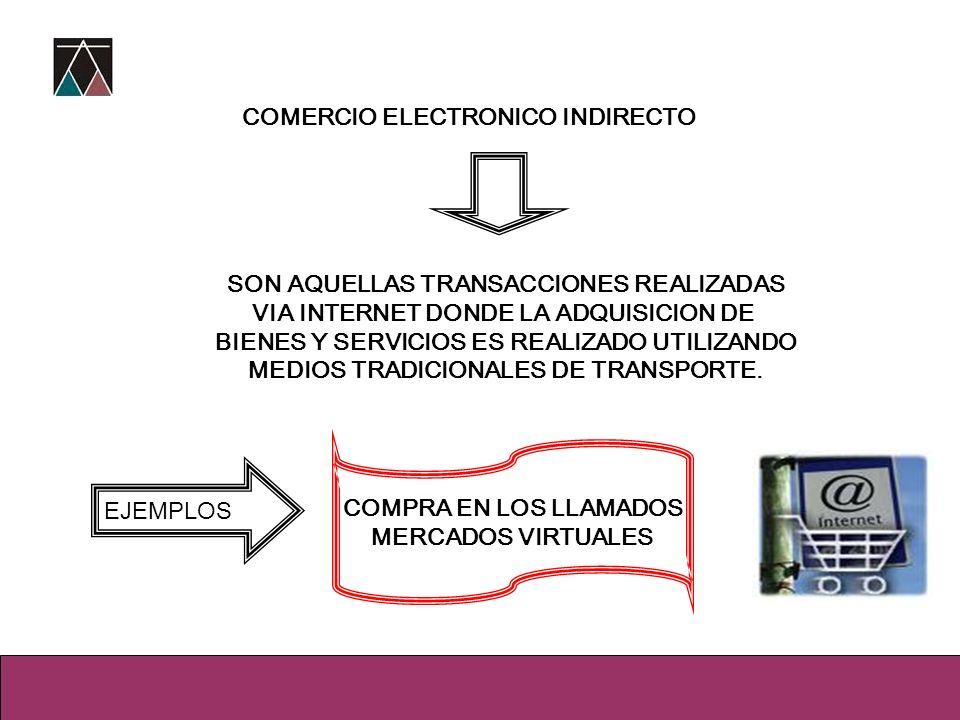 COMERCIO ELECTRONICO INDIRECTO SON AQUELLAS TRANSACCIONES REALIZADAS VIA INTERNET DONDE LA ADQUISICION DE BIENES Y SERVICIOS ES REALIZADO UTILIZANDO M