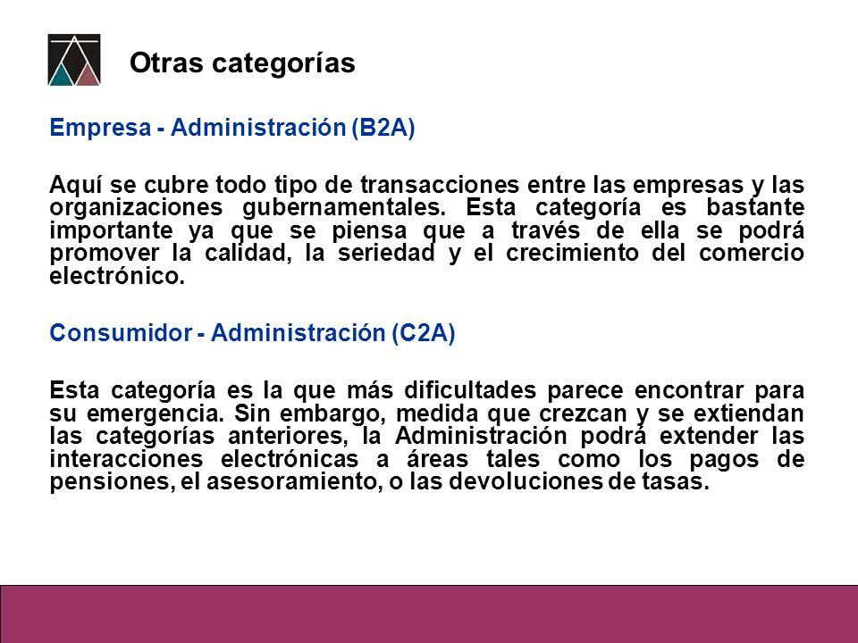 Empresa - Administración (B2A) Aquí se cubre todo tipo de transacciones entre las empresas y las organizaciones gubernamentales. Esta categoría es bas