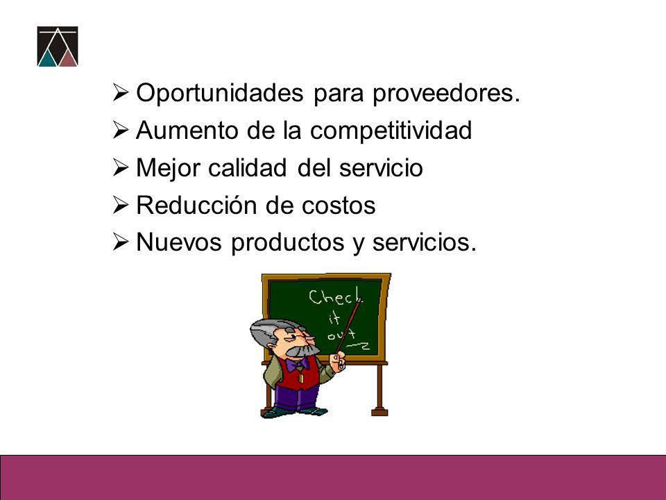 Oportunidades para proveedores. Aumento de la competitividad Mejor calidad del servicio Reducción de costos Nuevos productos y servicios.