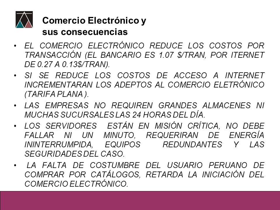EL COMERCIO ELECTRÓNICO REDUCE LOS COSTOS POR TRANSACCIÓN (EL BANCARIO ES 1.07 $/TRAN, POR ITERNET DE 0.27 A 0.13$/TRAN). SI SE REDUCE LOS COSTOS DE A
