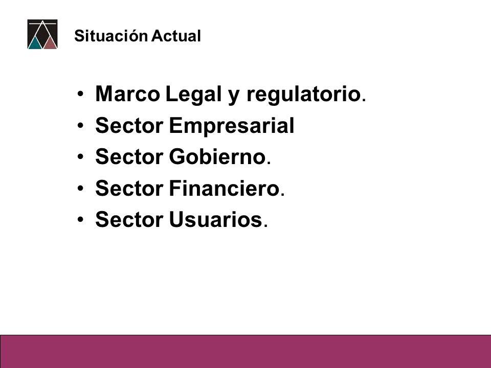 Marco Legal y regulatorio. Sector Empresarial Sector Gobierno. Sector Financiero. Sector Usuarios. Situación Actual